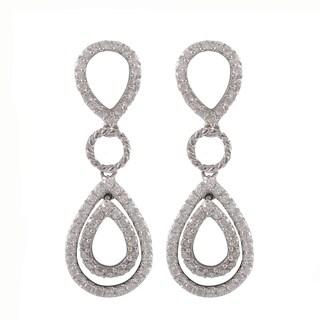 Sterling Silver Cubic Zirconia Halo Teardrop Dangle Earrings