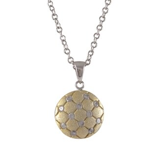 Sterling Silver Two-tone Cubic Zirconia Tufted Circle Necklace Pendant