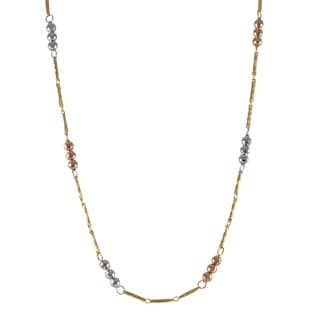 Sterling Silver Gold Finish Tri-color Faceted Balls Link Necklace