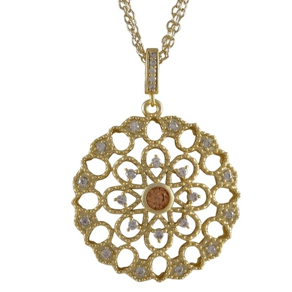 Matte Gold Finish Cubic Zirconia Lace Filigree Circle Pendant Necklace