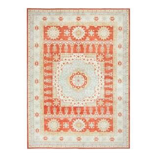 Herat Oriental Afghan Hand-knotted Tribal Vegetable Dye Kazak Orange/ Ivory Wool Rug (9' x 12'1)