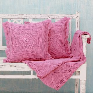 Set of 3 Cotton 'Jaipur Orchid' Throw and Cushion Covers (India)