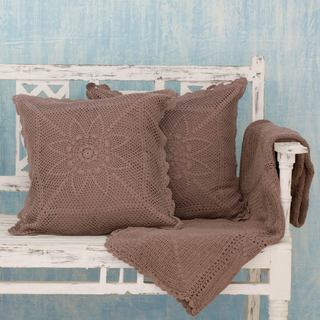 Set of 3 Cotton 'Jaipur Taupe' Throw and Cushion Covers (India)