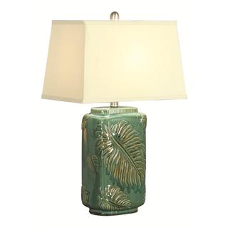 Lana Artistic Leaf Pattern Table Lamp with Fabric Shade