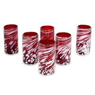 Set of 6 Handcrafted Blown Glass 'Festive Red' Tumblers (Mexico)