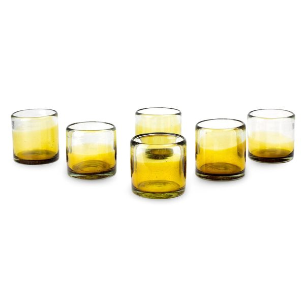 Set of 6 Handcrafted Blown Glass 'Amber Feast' Juice Glasses (Mexico)