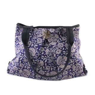 Handcrafted Cotton 'Blue Thai Garden' Shoulder Bag (Thailand)