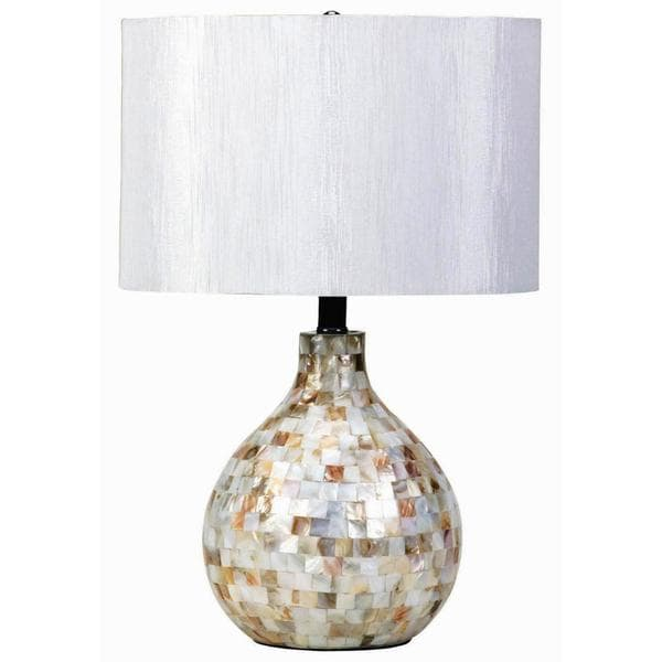 Milano Mosaic Design Table Lamp with White Drum Shade