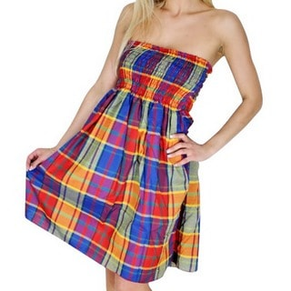 La Leela Women's Latest Multicolor Checks Cotton Short Tube Dress