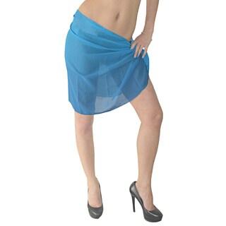 La Leela Women's Solid Color Sheer Chiffon Beach Swim Sarong Pareo Wrap