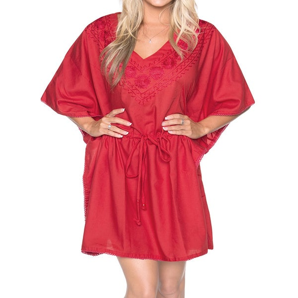 La Leela Bikini Cover up SOFT RAYON Floral Embroidered Drawstring Swimsuit Coverup TOP Red