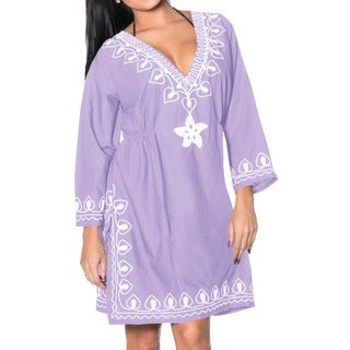 La Leela White Embroidered Rayon Swimsuit V Neck Bikini Cover up Tunic Kaftan Purple