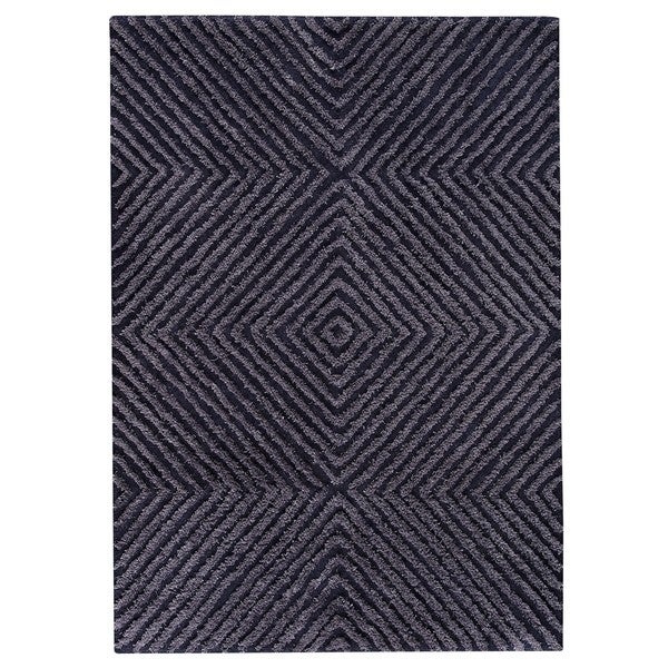 Indo Hand-tufted Buff Bue Wool Area Rug (5'6 x 7'10)
