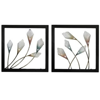 Bloom Hand-crafted LED Lights Metal Wall Art Decor (Set of 2)