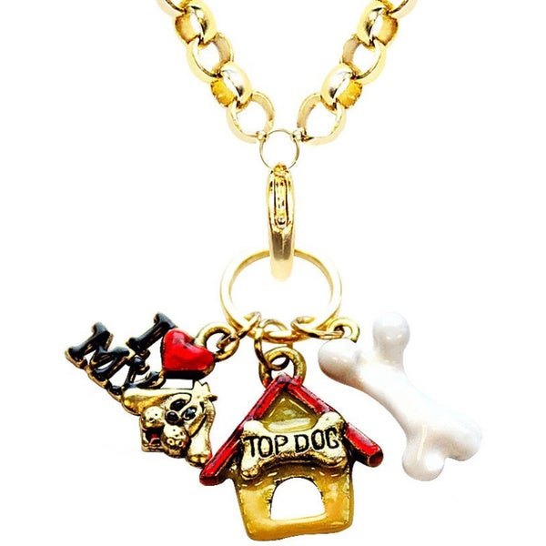 Gold Overlay Dog Charm Necklace