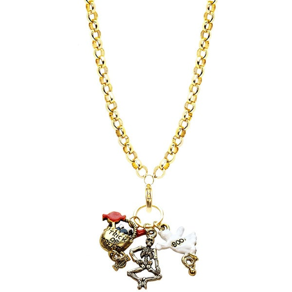 Gold Overlay Halloween Charm Necklace