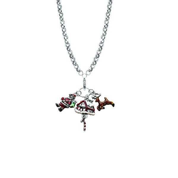 Silver Overlay Christmas Charm Necklace