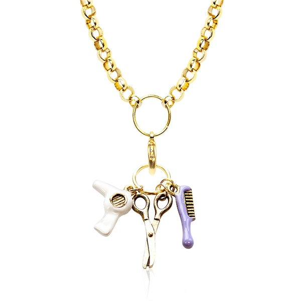 Gold Overlay Beautician Charm Necklace