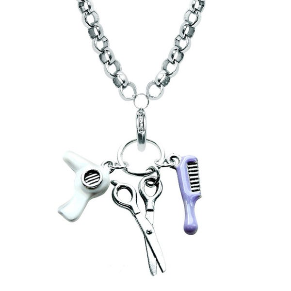 Silver Overlay Beautician Charm Necklace