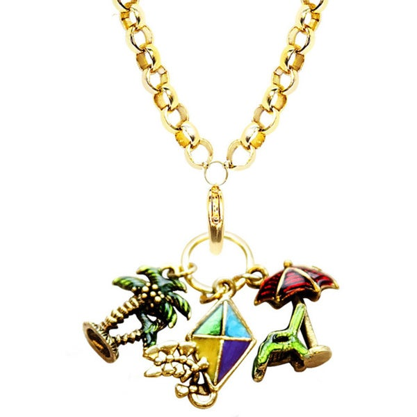 Gold Overlay Summer Fun Charm Necklace