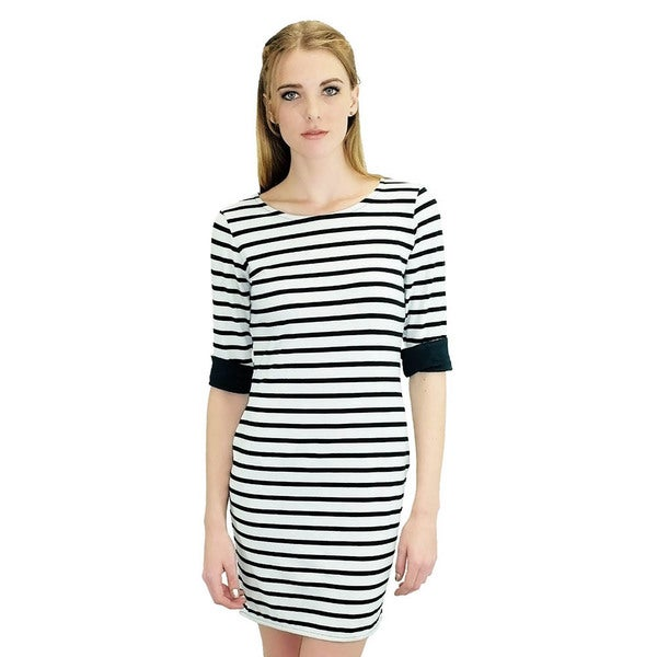 Women's Black/ White Striped Shirt Dress