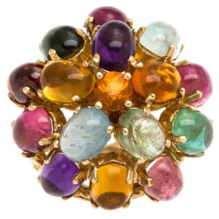 14k Yellow Gold Multi-color Dome Estate Ring