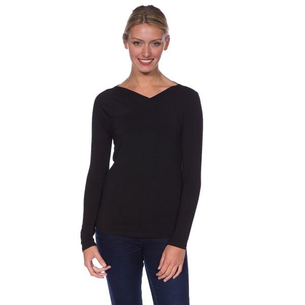 AtoZ Women's Modal Long Sleeve Side Draped Shoulder Top