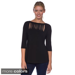 AtoZ Women's Modal 3/4-sleeve Boat Neck Top with Slit Detail