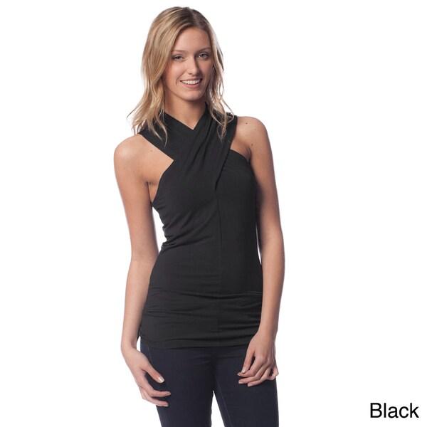 AtoZ Women's Modal Criss-cross Halter Top