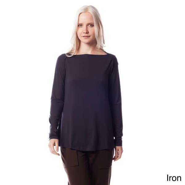 AtoZ Women's Modal Long Sleeve Boatneck Top
