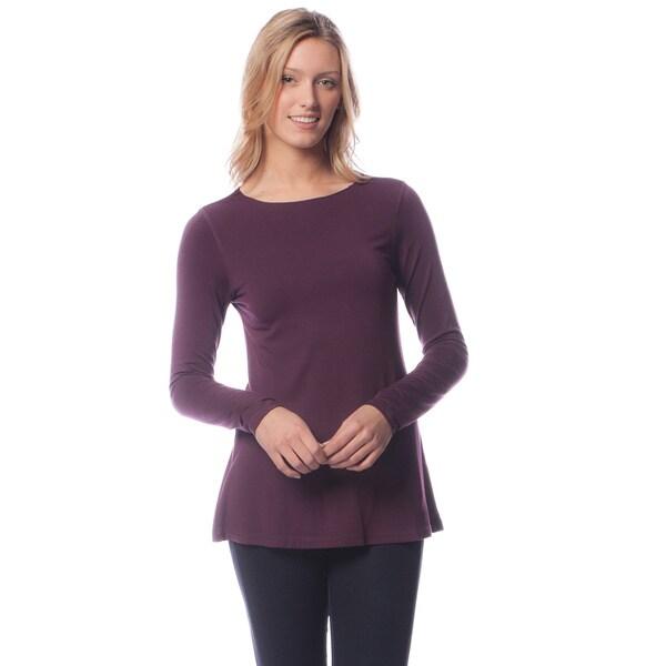 AtoZ Women's Modal Long Sleeve Crewneck Flared Top