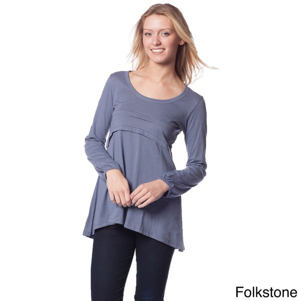 AtoZ Women's Cotton Long Sleeve Empire A-line Top