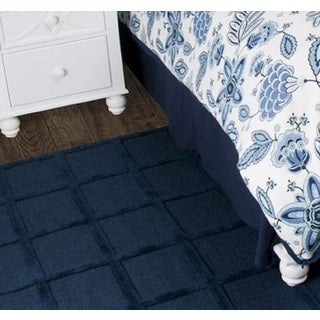 Rizzy Home Fresh Air Solid Navy Cotton Bed Skirt