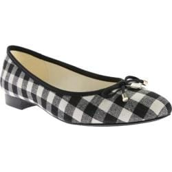 Women's Anne Klein Ovi Pointed Toe Flat Black/Natural Multi Fabric