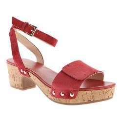 Women's Nine West Fiaz Ankle Strap Sandal Red Suede