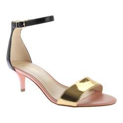 Women's Nine West Leisa Ankle Strap Sandal Black/Gold Leather