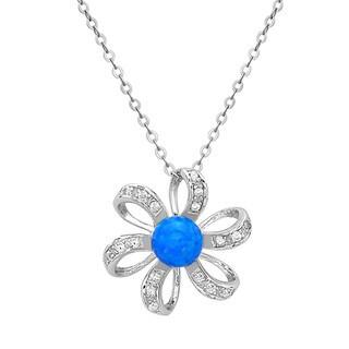 La Preciosa Sterling Silver Opal and Cubic Zirconia Flower Pendant