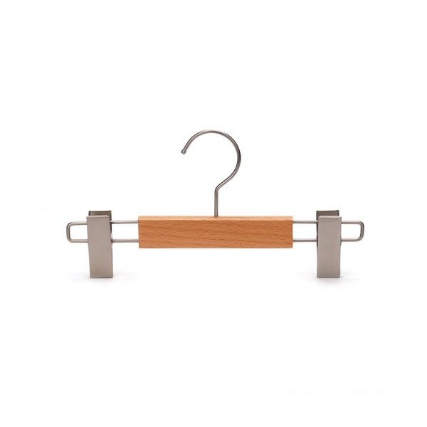 J.S. Hanger Beech Skirt Hangers Wooden Pants Hangers with Clamp (Pack of 5)
