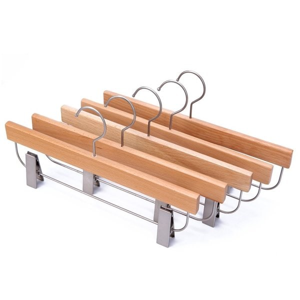 J.S. Hanger Pack of 5 Wooden Skirt/Pants Hangers Wooden Dresses Hanger