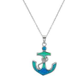 La Preciosa Sterling Silver Opal Anchor Pendant