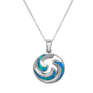 La Preciosa Sterling Silver Opal Circle Swirl Pendant