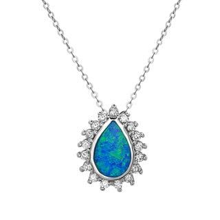 La Preciosa Sterling Silver Opal and Cubic Zirconia Teardrop Pendant