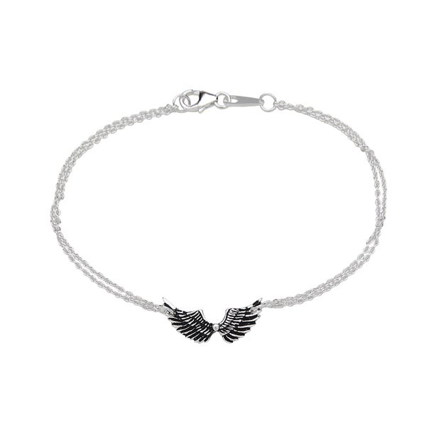 La Preciosa Sterling Silver Double-Strand Angel Wings Bracelet