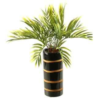 D and W Silks Bamboo Spray in Ceramic Vase