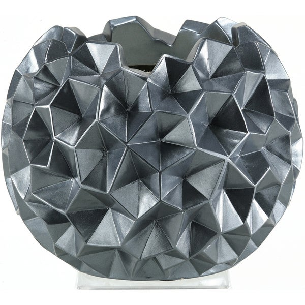 D and W Silks 13-inch x 15-inch Pearly Grey Resin Bowl