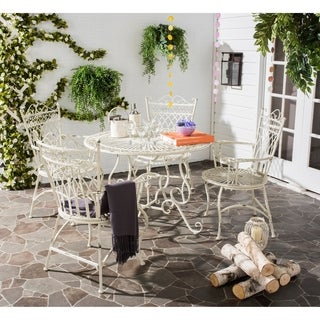 Safavieh Outdoor Living Rustic Thessaly Antique White Dining Set (5-piece)