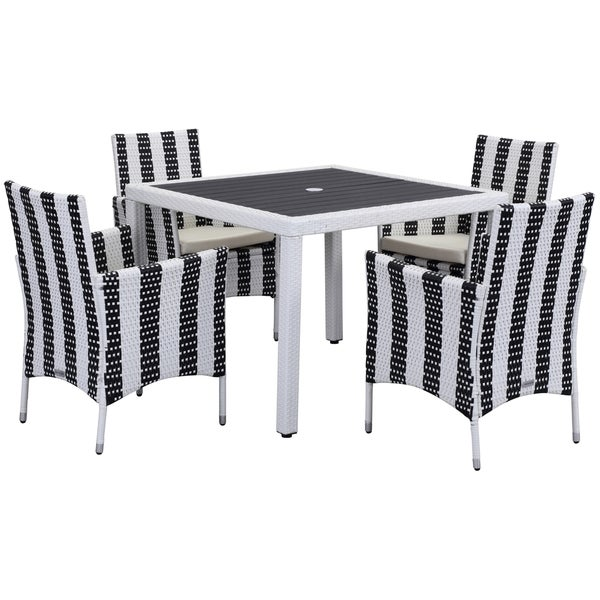 Safavieh Outdoor Living Frazier Black/ White Dining Set (5-piece)
