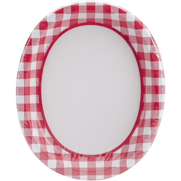 Check Oval Plates 10inX12in 8/Pkg Red & White