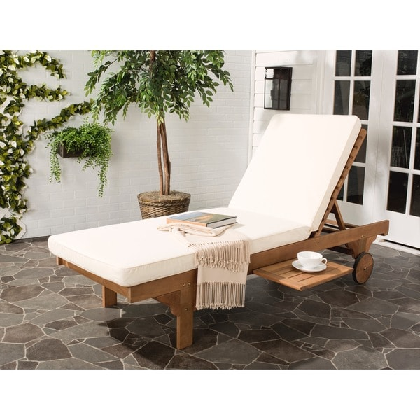 Safavieh outdoor living newport teak brown beige for Brown chaise lounge outdoor