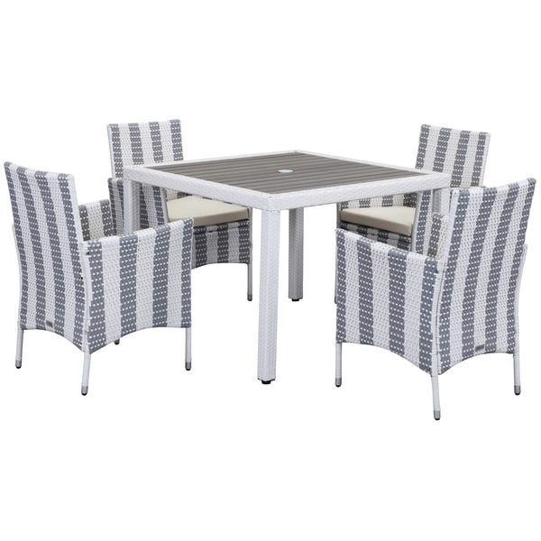 Safavieh Outdoor Living Frazier Grey/ White Dining Set (5-piece)
